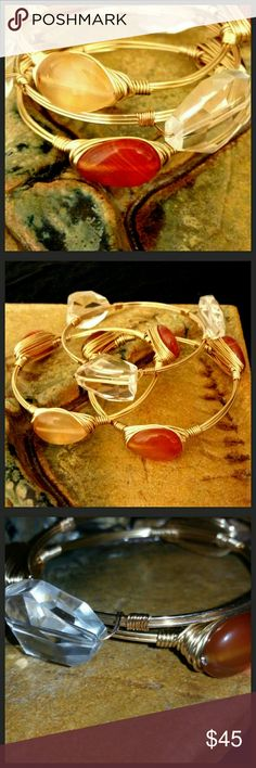 """Host Pick!!!  The Aurora Collection 3 Beautiful gold wire. Each has 3 stones and/Beadss. Two bangles  """"OKOI"""" stones from HI.   Third bangel has 3 crystal clear beads.   All have the same size of Medium of 2.5"""" Diameter.  Due to the nature of natiral stones, each bracelet is unique in its own way, as no two stone are alike. Bangle is handmade with a tarnish resistant brass wire. Price is firm unless bundled.   I have more to come! Be on the lookout. Jewelry Bracelets"""