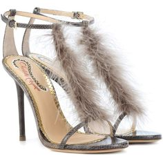 Charlotte Olympia Provocateur Feather-Trimmed Sandals (17.215.340 VND) ❤ liked on Polyvore featuring shoes, sandals, grey, gray shoes, charlotte olympia, charlotte olympia sandals, charlotte olympia shoes and gray sandals