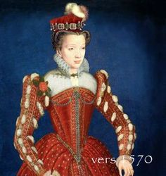 Photoshop?  It looks like they spliced a different girl's head and partlet onto a (reversed) version of a gown worn in a portrait of Elizabeth.  Or maybe they're just similar and I'm completely wrong.   Costume for woman, c.1570