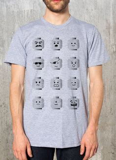 Lego Heads with Retro Distressed Texture - Men's Graphic T-Shirt - Heather Grey American Apparel - Available in S, M, L, XL and 2XL on Etsy, $25.74 AUD