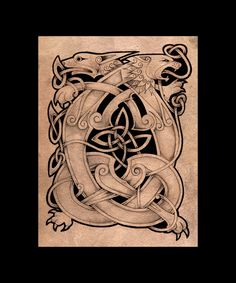celtic lion and beast by knotty inks