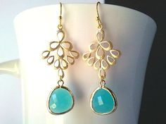 Multi Teardrop with Mint earrings   High Fashion by LaLaCrystal, $25.50