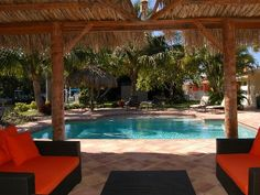 Anna Maria house rental - Poolside relaxation overlooking canal