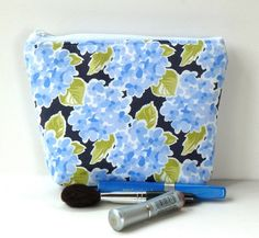 Navy Hydrangea Floral Flat bottomed Cosmetic by nangatesdesigns, $15.00