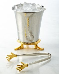 Shop Footed Ice Bucket & Cold Hands Ice Tongs from Michael Aram at Horchow, where you'll find new lower shipping on hundreds of home furnishings and gifts. Ice Tongs, Cold Hands, Silver Gifts, Bar Accessories, Unusual Gifts, Kids House, Own Home, Metal Working, Barware