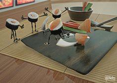 Sushi by Rodrigo César R. Godinho, via Behance