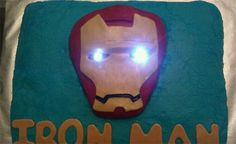 Iron Man cake with real lights for the eyes.