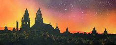 An original painting & prints of Kelvingrove Museum Sunset, Glasgow, Scotland. A mixed media painting in acrylic paint, spray paint, oil paint and acrylic ink. Mixed Media Painting, Painting Prints, Art Prints, Scotland Landscape, Irish Art, Artist Gallery, Contemporary Paintings, Love Art, Original Paintings