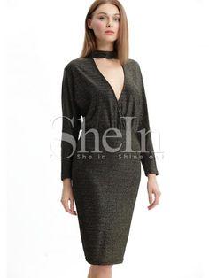 Black Long Sleeve Cut Out Dress