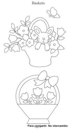 patterns for Easter basket with flowers and another with flowers and a bunny