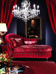 Lounge chair, chandelier & curtains for Bordello Master Bedroom