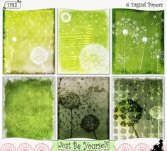 "Grungy Dandelions Instant Download Printable Digital Papers by JustBYourself.  Grungy gray, yellow and green ombre hues with distressed dandelion overlays are featured on these digitally painted printable art journal papers. Instant download collection of 6 - 8.5"" x 11"" papers. (1142) $2.75"