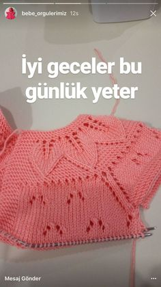 """diy_crafts-This post was discovered by Sevgi Genç Altuntaş. Discover (and save! """"This post was discovered by Sevgi Gen Diy Crafts Knitting, Sweater Knitting Patterns, Knitting Designs, Knitting Stitches, Knit Patterns, Knit Baby Sweaters, Baby Hats Knitting, Knitting For Kids, Knitted Hats"""