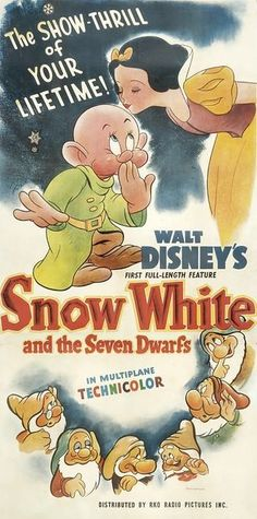 Vintage Snow White and the Seven Dwarves poster - Walt Disney's first full-length feature