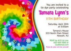 tie dye birthday party invitations free print bing images