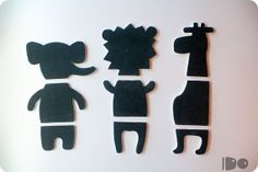 This puzzle-chalkboard figures will entertain any kid! And, don't you think they'll look great on a wall when not used?