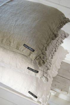 ruffled linen pillows