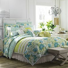Your springtime garden, with green and blue florals!