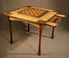 custom game table | Custom chess - game table, oak, & rosewood | Chess Sets & Game Boards