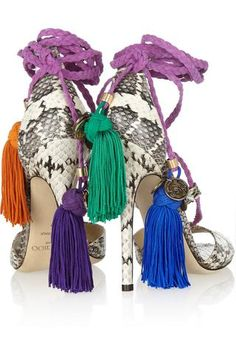 Jimmy Choo|Dream rope-tie elaphe sandals|NET-A-PORTER.COM... But who couldn't find a pair of affordable white snakeskin heels, braid some lavender rope and whip up some colored tassels? Still respecting JC!
