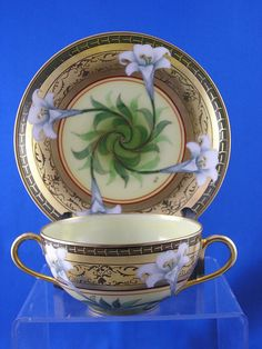 """William Guerin (WG) Limoges Pickard """"Easter Lily"""" Pattern Bouillon Cup & Saucer Set (Signed/""""O.S."""" for Otto Schoner/c.1905-1910)"""
