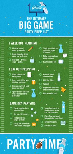 Don't drop the ball. Plan ahead and make sure your home is super fresh for this year's party. Consider this a friendly reminder to stock up on Febreze… and put it in the bathroom. Game Day Food, Party Checklist, Football Food, Super Bowl Sunday, 13th Birthday, Big Game, Sleepover, Tailgating, Party Games