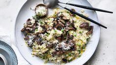 Mushroom and pea risotto recipe