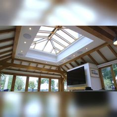 Horizontal roller blinds are one of the many ways to cover a lantern roof.   They are a great wire-free solution, as supporting wires across your roof are not needed to operate the blind.  Our roller blinds are available for a number of different lantern roofs and can be operated with either a remote control or fully integrated with our Smart Blind system.  Loft Design, Home Room Design, Home Interior Design, Interior Ideas, Modern House Facades, Modern House Design, Skylight Design, Rooftop Design, Roof Lantern