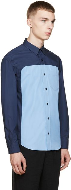 Undecorated Man Navy & Blue Colorblocked Dungaree Shirt