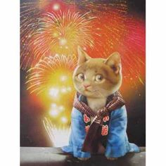 """""""Fireworks"""" by  Makoto Muramatsu   A cute kitten who is dressed to enjoy a special fireworks occasion!"""