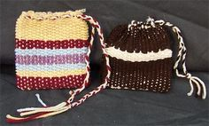 Woven bags. Not really sewing, but a fun craft for kids. It can be done all with yarn, or you use yarn on the loom and weave fabric. Using fabric makes larger knots that (I think) look cool. For the drawstring if you don't want one long one, weave either braided yarn or cording under and over and tie together, repeat but weave the opposite way and again knot ends together. Then pull both stings away from the bag and you have two little handles.