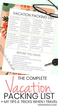 The Complete Vacation Travel Packing List + Tips. Printable packing list and tips to make traveling less stressful. Packing list, travel list, travel items list, packing list for trip, travel packing checklist, suitcase packing checklist, flight tips, what to buy for a trip, stepy step before traveling, #travel #checklist #vacation #printable