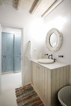 On the world renown island of Mykonos, overlooking stunning Panormos Bay, these eleven villas are a short walk from beautiful Panormos Beach and have Comedor Office, Shabby Chic Campers, Harbor House, House Of Turquoise, Interior Decorating, Interior Design, Bathroom Inspiration, Daily Inspiration, Luxury Villa