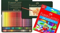 Caixa metálica de 120 e de 24 cores de lápis de cor da Faber-Castell