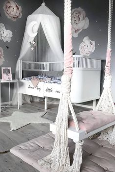 11 Cute Nursery Baby Room Ideas for Baby Girl Girls Bedroom Decor White Girls Rooms, Pastel Girls Room, Little Girl Rooms, Pink Room, Girls Room Design, Girl Bedroom Designs, Girls Bedroom, Girl Nursery, Design Bedroom