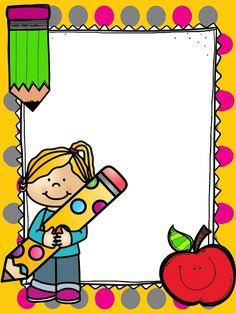 Kindergarten Portfolio, Kindergarten Freebies, Binder Cover Templates, Binder Covers, Borders For Paper, Borders And Frames, School Frame, Art School, School Border