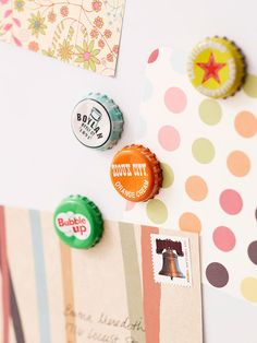 Bottle Cap Magnets - Bring the recycled-chic look to your kitchen with bottle-cap magnets... This idea would also work with the caps from local craft breweries