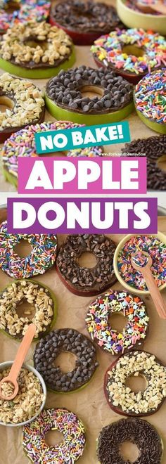 These easy no bake apple donuts are the perfect after school snack for kids full of healthy and good-for-you ingredients. These easy no bake apple donuts are the perfect after school snack for kids full of healthy and good-for-you ingredients. School Snacks For Kids, Healthy Snacks For Kids, Snack Ideas For Kids, Birthday Food Ideas For Kids, Healthy Birthday Snacks, Party Food For Kids, School Snacks For Kindergarten, Snacks For Work, Snacks For Children