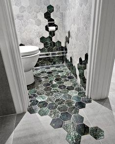 marbre vert salle de bain mélange parquet carrelage #design #interiors