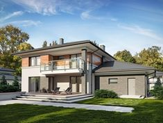 DOM.PL™ - Projekt domu TP Kleo CE - DOM TP2-31 - gotowy koszt budowy 4 Bedroom House Designs, Rio 2, Modern Architecture House, House Floor Plans, Home Fashion, New Homes, Construction, Exterior, How To Plan