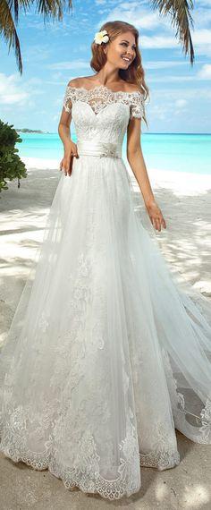 Elegant Lace Off-the-shoulder Neckline 2 in 1 Wedding Dresses
