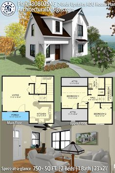 Plan Exclusive Two-Story House Plan with Upstairs Bedrooms Guest House Plans, Sims 4 House Plans, Two Story House Plans, Cottage House Plans, Craftsman House Plans, Tiny House Plans, Small House Plans Under 1000 Sq Ft, Guest Cottage Plans, Home Plans