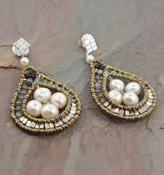 Ziio Pearl Earrings - Sterling Silver, Freshwater Pearl, Murano Glass Beads, Labradorite and Agate Earrings