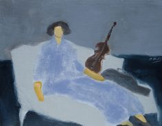 """Gigi Mills """"Girl with Violin"""" Oil on Canvas  16""""x20"""" Framed with Chunky Gold Frame"""