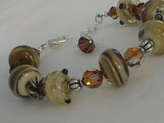 Lamp work Beaded Bracelet on Etsy, $80.00