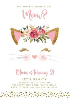 Kitten Birthday Party Invitations, Kitty Birthday Ideas, Cat theme Parties - Edit & Print today! xo