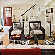 Southern Living: Great video tips / Formal Living Room Decorating Ideas Black And White Living Room, Living Room Red, Formal Living Rooms, Living Room Decor, Living Spaces, Black White, Dining Room, Small Living, Living Area