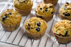 Blueberry Paleo Muffins: almond flour, baking soda, salt, eggs, honey, butter, lemon juice, vanilla, fresh blueberries
