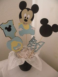 Personalized Mickey Mouse Baby Shower Centerpiece with Baby Mickey, Onesie, Mickey Head, Title, Pacifier, Bottle by mandymason on Etsy https://www.etsy.com/listing/230544950/personalized-mickey-mouse-baby-shower