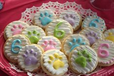 Palace Pets birthday party, paw print cookies